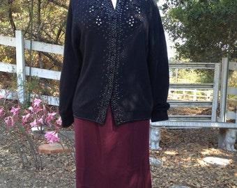 Vintage 1960's Black Beaded Cardigan * Medium to Large *