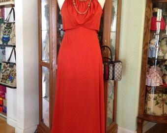 Vintage 1970's Orange Persimmon Disco Dress * Size Medium