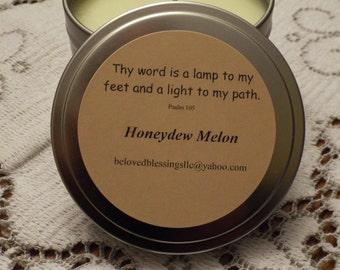 Honeydew Melon 8 oz Soy Candle Tin