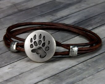 Leather Bracelet - Bear Paw - Leather Wrap Bracelet - Animal Leather Bracelet - Mens Leather Bracelet - Womens Leather Bracelet - Bear - Paw
