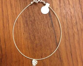 Tiny textured  silver ankle bracelet