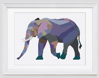 Elephant cross stitch pattern, elephant modern counted cross stitch, elephant cross stitch pdf pattern download