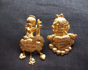Two Precious Moments PMI Brooches Brushed Gold Tone FREE SHIPPING