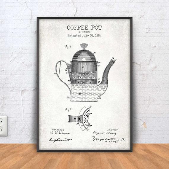 CAFETERA cartel imprimir patentes de café café imprimible