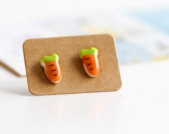 Cute Carrot Ceramic Ear Studs Earrings Jewelry, Fruit Salad Earring,Plastic Posts, Fruit Studs, Fruit Studs, Tiny