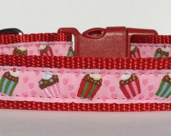 Cupcakes Dog Collar, Adjustable Dog Collar, Ribbon Dog Collar