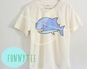 Funny shark shirt kids Short sleeve tee shirts+off white or grey toddlers shirt +kids girl boy clothes