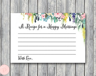 A Recipe for a Happy Marriage Printable Card, Wedding Shower, Bridal shower game, Bridal shower activity, Printable Game WD71  TH17