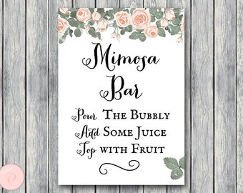 Mimosa Bar Sign, Bubbly Bar Sign, Wedding Bar Sign, Printable Sign, Wedding Decoration Sign, Engagement Party Mimosa TH03 TH04