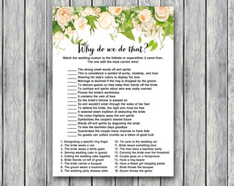 Why do we do that Bridal Shower Game, Wedding Tradition Quiz , Bridal shower game, Bridal shower activity, Printable Game TH01