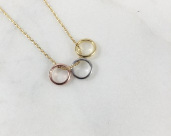3 Rings Necklace//Silver/Rose/Gold//Shinny Necklace//Fashion Necklace//Perfect Gift