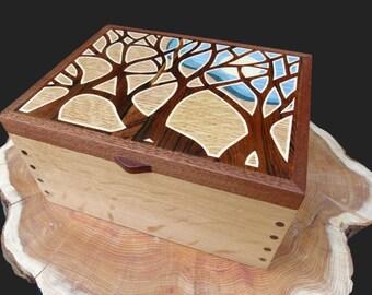 Moonlight Trees Wooden Jewellery Box