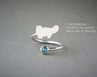 Adjustable Spiral PERSIAN CAT BIRTHSTONE Ring / Persian Cat Birthstone Ring / Birthstone Ring / Dog Ring