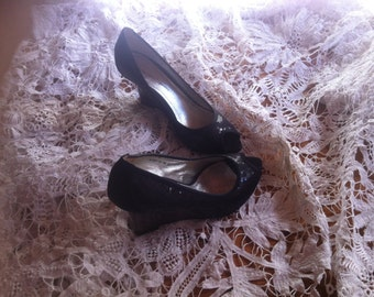 Shoes with wedge heel sequins black small