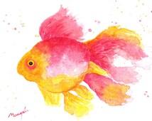 FISH WATERCOLOR hand-made ORIGINAL, orange and pink hues. Home decor, ideas decor wall, bath, living-room, peixe, poisson. Pez en acuarela