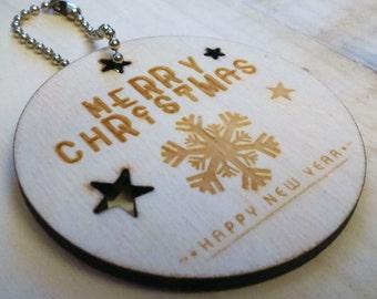 Merry Christmas Snowflake Laser Cut Decoration