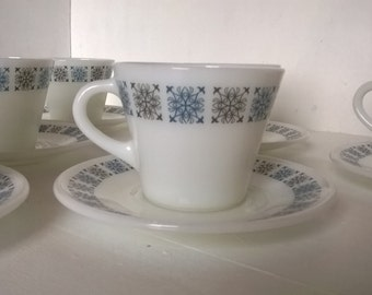 Set of six JAJ Pyrex 'Chelsea' cups and saucers