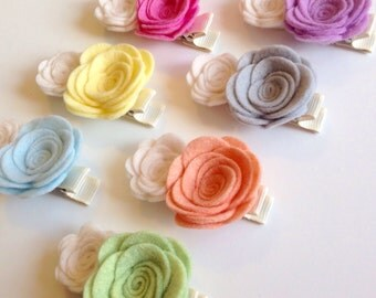 Double Felt Flower Alligator Hair Clip