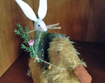 Sweet Little Felt Rabbit and Mohair Duck Pincushion