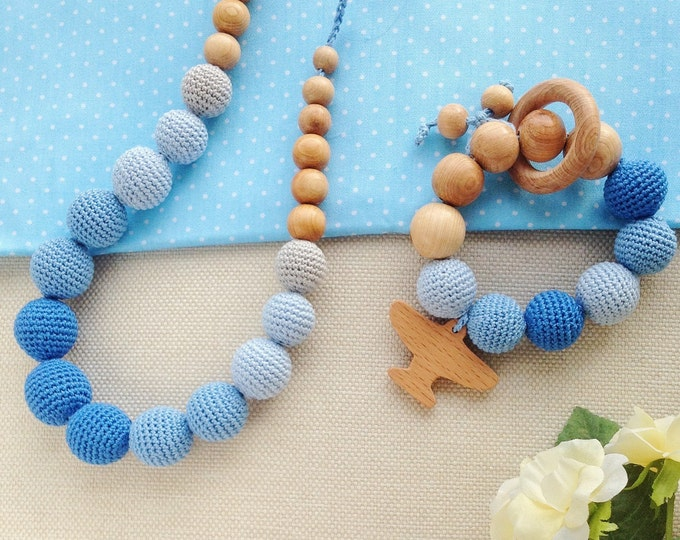Nursing necklace / Teething necklace / Breastfeeding necklace Gradient blue