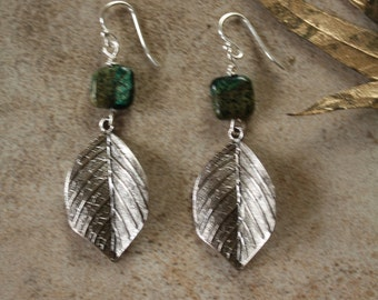 58 Green agate and antiqued silver drop earrings, sterling ear wires, boho, artisan, rustic