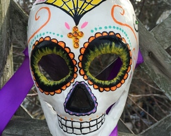 Hand-painted Day of the Dead Full Face Sugar Skull Paper Mache Mask - Child Size