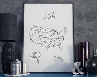 Usa Map Usa Travel Map Usa Print Usa Art United States Of America Art Geometric Art