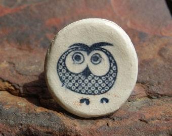 Ceramic Navy and White Owl Ring