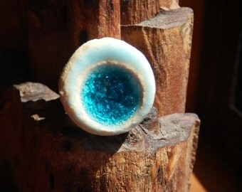 Small Ceramic Blue Pooling Glazed Ring