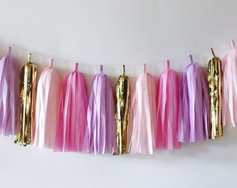 Tissue Tassel Garland  //  Pink  //  Blush  //  Gold  //  Party Decoration  //  Bridal Shower  //  Birthday Party