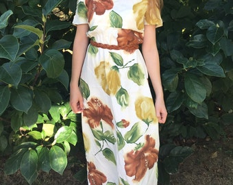 Vintage 80s Floral Maxi Dress : hippie, boho, bohemian, 1980s, floor length, Jeffrey and Dara