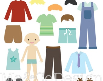 Boy Paper Doll Clipart, Fun Happy Clipart, Accessory Clipart Instant Download, Personal and Commercial Use Clipart, Digital Clip Art