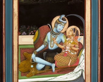 Traditional Indian Painting of Shiva and Parvati - Fine Art Print