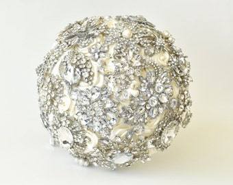 Ivory Silver Brooch Bouquet Wedding Brooch Bouquet, Ready to ship, Full Price!