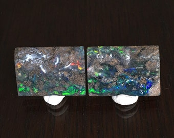 Isha and Ishi | 85.5 Cts | Pair of 2 Large Rectangular Boulder Opals | Strong Flashes of Blue/Green/Yellow/Orange Fire