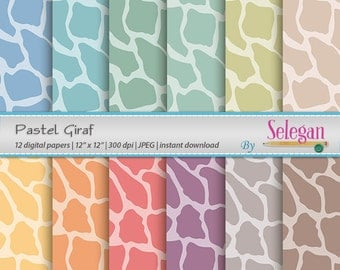 Pastel Giraf, Giraffe, Digital Paper, Scrapbooking, Paper, 12x12, Printable, Pattern, African, Wild, Animal, Texture, Pastel, Background