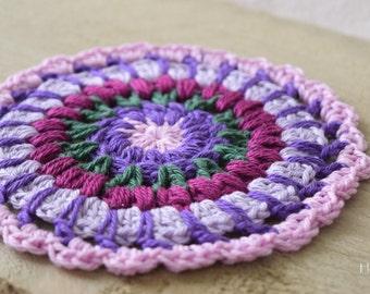 Crochet Doily Mandala Purple Green Pink
