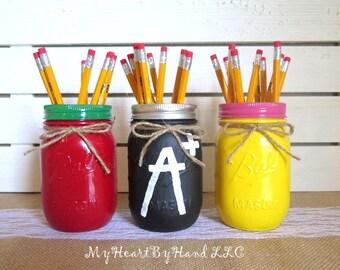 Teacher Gift, Classroom Decor, Painted Mason Jars Set of 3 Shown, Apple, Chalk Board, Penicil Inspired Mason Jars, Home School Accesories