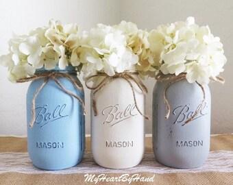 3 Quart Side Distressed Mason Jars in Baby Blue, White and Soft Gray, Distressed Mason Jars, Mason Jar Vases, Ball Jars, Baby Shower Decor
