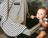 Car Seat Cover for Infant Car Seat Fits all Infant Car Seats- Skim Milk (Black and White Stripes) [more patterns available]