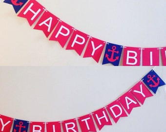 Nautical theme banner . Birthday banner . Sailor theme . Under the sea theme . Happy birthday sign . Anchor theme