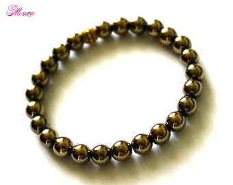 8mm Pyrite Bracelet, Pyrite Bracelet, Pyrite Wrist Beads, Pyrite Jewelry, Pyrite Wrist Mala, Chakra Bracelet, Gold Bead Bracelet, Pyrite