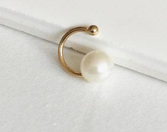 Pearl Ear Cuff Earring, Cartilage Cuff, Gold Ear Cuff