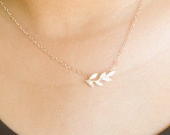 Tiny Rose Gold Leaf Necklace, Dainty, Simple, Cute