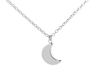 Tiny Sterling Silver Moon Necklace