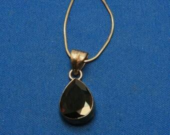 Vintage Smoky Smokey Quartz Sterling Silver 925 Pendant Necklace