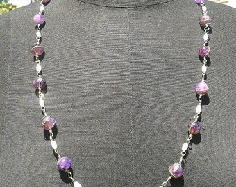 wire wrapped amethyst and mother of pearl