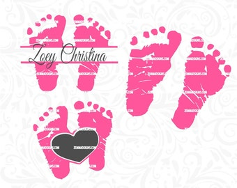baby feet svg - svg files - silhouette files - baby svg - baby svg files -   .DXF .SVG, .PNG Silhouette studio-cutting file- commercial use