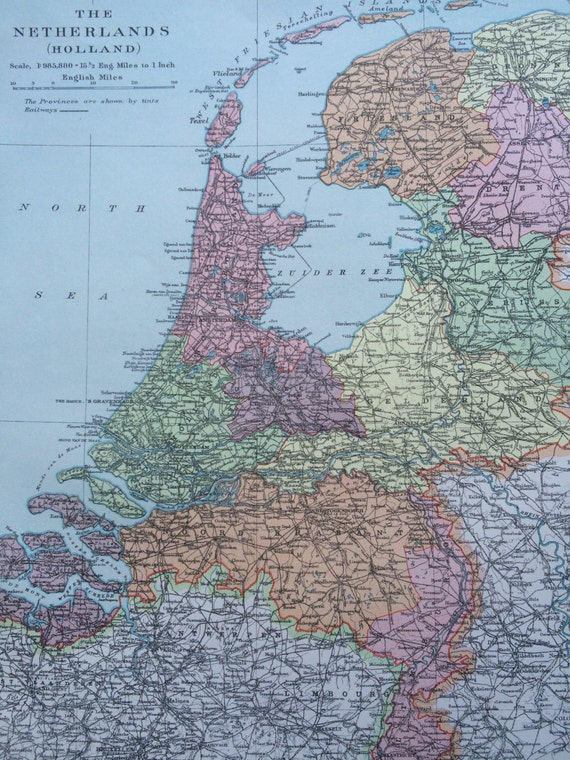 1920 THE NETHERLANDS Original Vintage Map 12 x 145 inches