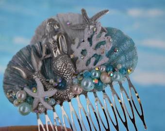 Turquoise Seashell Wedding Comb / Mermaid and Starfish Hair Comb / Beach Wedding Comb / Seashell Comb